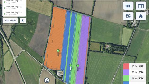 Kort der viser forskellige dyrkningsstrategier i en af Niels Frederik Skov Jensens marker med læggekartofler.ra en mark