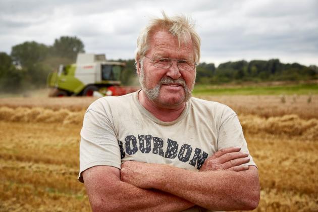 Leif Larsen er rigtigt godt tilfreds med at høste 9,1 ton hvede per hektar i år